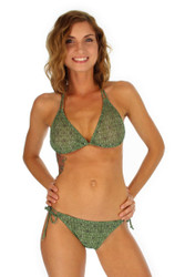 Tan through string bikini top -- green Caged -- Lifestyles Direct.