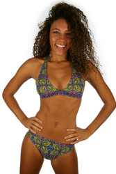 Halter top from Lifestyles Direct Tan Through Swimwear in green Heat.