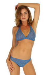 Blue Caged halter bikini top from Lifestyles Direct Tan Through Swimwear.