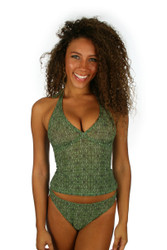 Full coverage high waist bikini bottom in green Caged print.