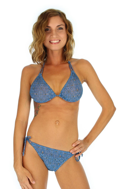 Blue Caged tan through string bikini bottom from Lifestyles Direct.