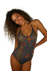Multicolor Safari tan through V neck women's swimsuit.