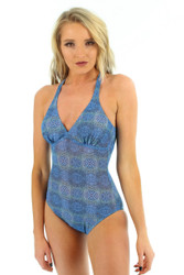 Blue Serpent tan through structured cup tank swimsuit with crisscross adjustable straps from Lifestyles Direct.