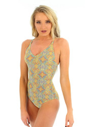 Yellow Carnival crisscross strap sport tank for women from Lifestyles Direct Tan Through Swimwear.