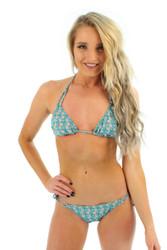 Tan through string bikini top in Conch print.