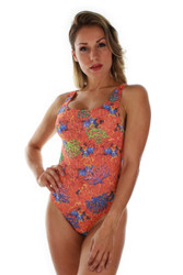 Front view of orange Fiji tan through traditional tank swimwear.