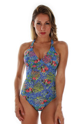 Front view of blue Fiji tan through structured cup crisscross adjustable strap tank swimsuit.
