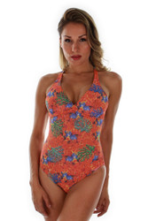 Front view of orange Fiji tan through structured cup crisscross adjustable strap tank swimsuit.