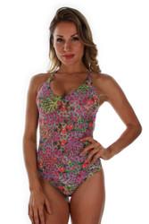 Front view of purple Fiji tan through crisscross adjustable strap sport tank swimwear.