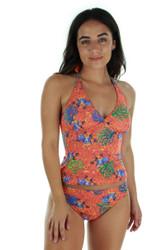 Front view of orange Fiji tan through high waist bikini bottom.
