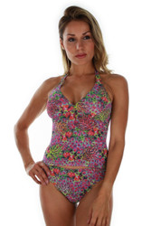 Front view of purple Fiji tan through tankini top.