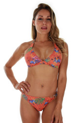 Front view of orange Fiji tan through bikini halter top.
