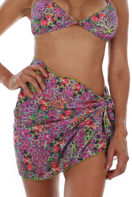 Front view of short sarong in purple Fiji print.
