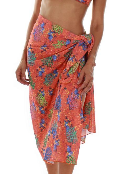 Orange Fiji pareo from Lifestyles Direct Tan Through Swimwear -- front view.