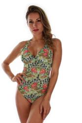 Green Morea tan through structured cup crisscross adjustable strap swimwear.