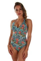 Structured cup crisscross strap tank swimwear in blue Morea print.