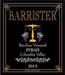 2015 Syrah, Bacchus Vineyard