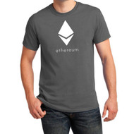 Ethereum Solid White Diamond 100% Cotton Charcoal Gray T-Shirt