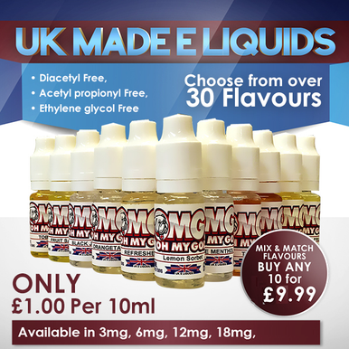 Selected 10 x 10ml Oh My God UK Made E liquids Variety Pack £9.99