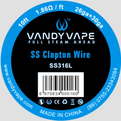 SS Clapton Wire SS316L/26ga+30ga 10ft
