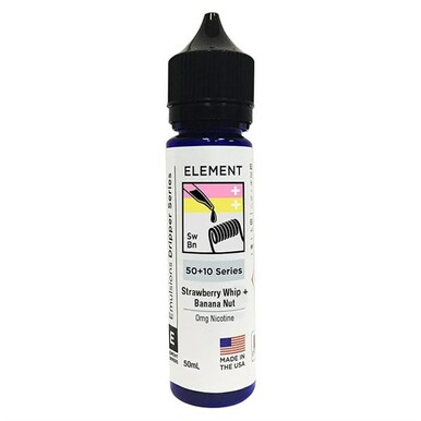 Strawberry Whip Banana Nut E Liquid 50ml(60ml with 1 x 10ml nicotine shots to make 3mg) by Element Emulsions Dripper Series (Zero Nicotine)