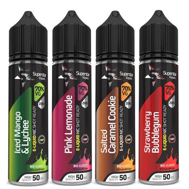 Superstar Vapes 4 x 50ml Selection Premium High VG (70/30) E Liquid 50ml