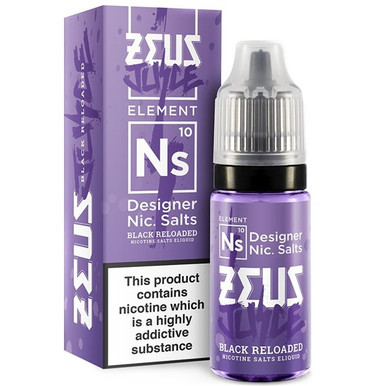 Black Reloaded Nic Salt E Liquid 10ml by Zeus Juice