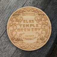 Elks Temple Brewery Wood Coaster