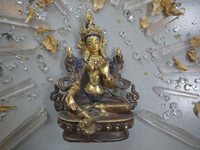 Green Tara part gold plate statue (1449744544)