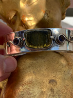 Moldavite and Amethyst silver bracelet (1405932153)
