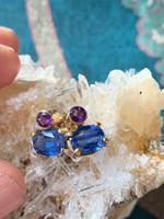 Kyanite & Amethyst 14ct gold earings (10452)
