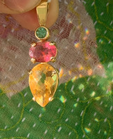 Citrine Pink tourmaline and Emerald 18 carat gold (1424855573)