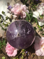 Amethyst sphere with pyramid inclusion Reduced (1428924031)