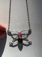 Pink tourmaline and Moldavite silver butterfly (1395927961)