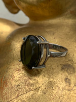 Faceted Moldavite silver ring (1428919825)