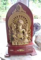 Marble and Wood Ganesh carving (111757)
