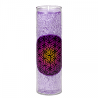 Flower of Life candle in Glass Holder – Purple (112986)