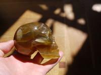 """AA Golden Fluorite skull """"Kut"""" (113088)"""