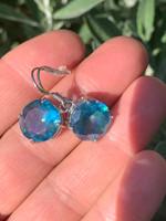 Aqua Aura silver earings (116400)