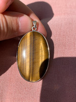 Golden Tigers eye set in silver (116445)