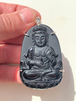 Obsidian Buddha pendant (117435)