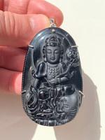 Obsidian Buddha pendant (117436)