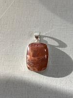 Strawberry quartz set in silver (117683)
