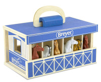 Breyer Horses Farms, Wood Carry Stable Play Set With 6 Horses 1:32 Stablemates Scale 59217