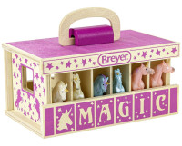 Breyer Horses Farms, Unicorn Wood Carry Stable Play Set With 6 Unicorns 1:32 Stablemates Scale 59218