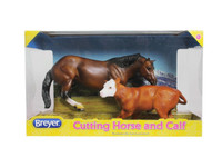 Breyer Horses Cutting Horse & Calf 1:12 Classic Scale 61091