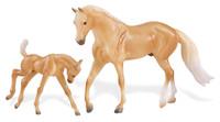 BREYER MODEL HORSES Palomino Quarter Horse & Foal 1:12 Classic Scale 62045