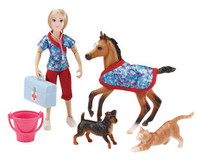 Breyer Horses Day At the Vet Doll and Animal Set 1:12 Classic Scale  62028