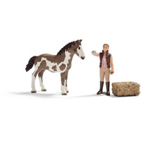 Schleich Farm Life Play Set - Foal Cleaning Set 21028 Pinto Foal + Horse Carer