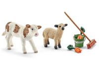 Schleich  Farm World Stable Cleaning Kit with Calf and Lamb 41422